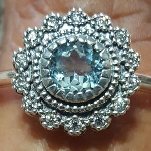 Sterling Silver Blue Topaz With Cluster Halo Ring